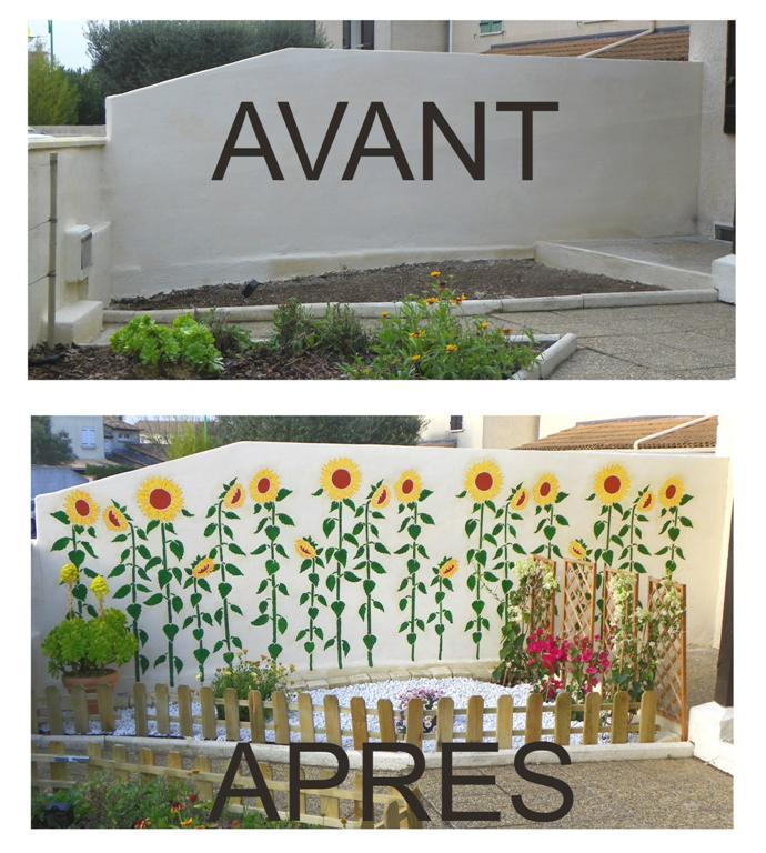 mur peint tournesols