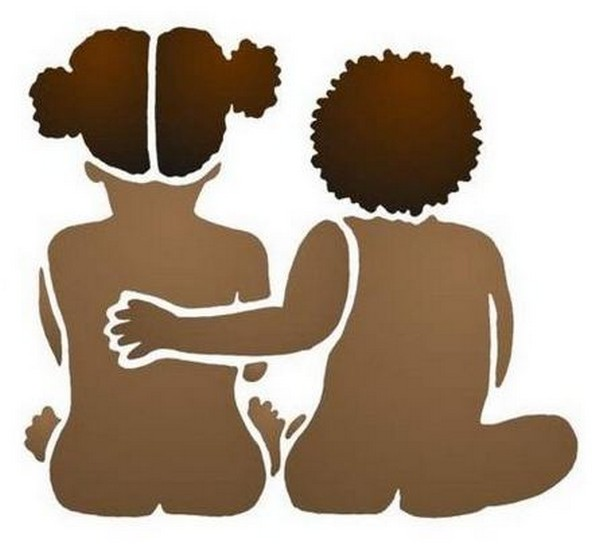 Afric2 pochoir jumeaux enfants africains mon artisane
