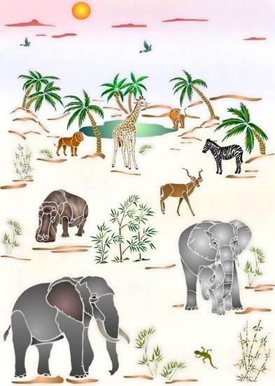 Afric24 pochoir oasis animaux d afrique mon artisane