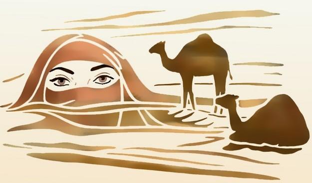 Afric477 visage sahara pochoir