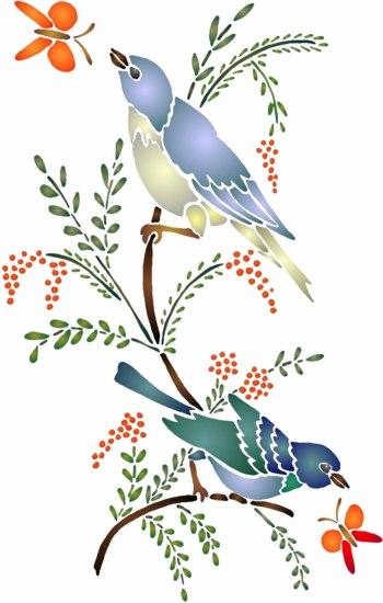 An123 oiseaux papillons pochoir mon artisane