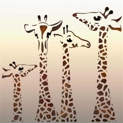 An56920 quatre girafes pochoir mon artisane style pochoir animaux afrique