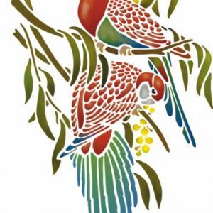 An6007 perruches mimosa pochoir oiseaux perroquets mural mon artisane