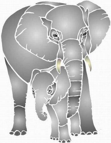 Ani4009 pochoir elephant et elephanteau