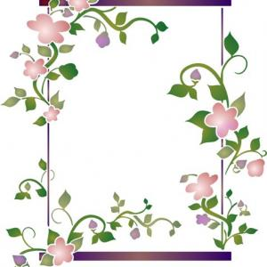 Cadre fleuri rectangulaire pochoir mon artisane fl11005