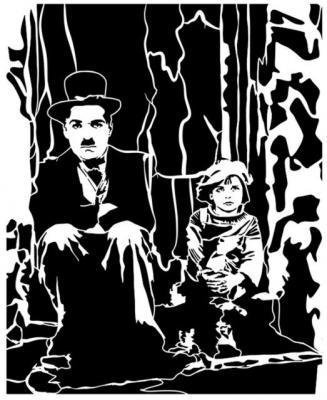 Charlie chaplin et petite fille assis pochoir mon artisane