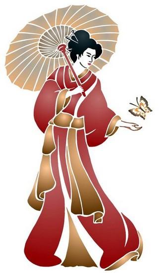 Chin17 pochoir chinoise ombrelle mon artisane style pochoir