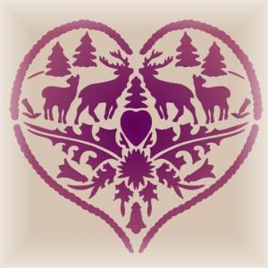 D36569 pochoir coeur cerfs montagne style montagnard mon artisane
