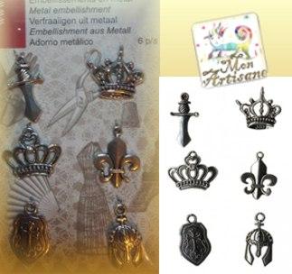 Embellisssment en metal couronne fleur de lys scrapbooking