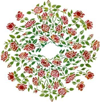 F84056 pochoir rosace de roses mon artisane style pochoir