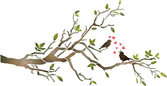Fl1202 branche oiseaux amoureux coeur pochoir mon artisane