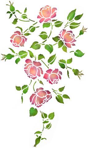 Fl314056 pochoir petite retombee roses anciennes mon artisane