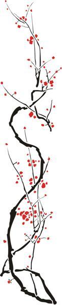 Fl39612 ikebana branche cerisier du japon pochoir