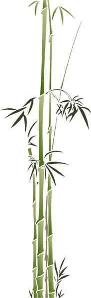 Fl39613 bambous fins pochoir porte style japonais asiatique