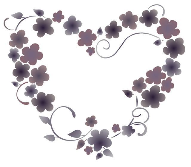 Fl6370 coeur fleuri pochoir vintage