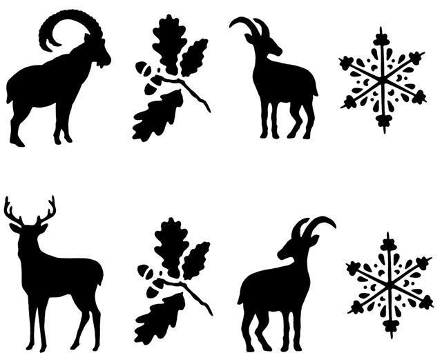 Fr24547 frise animaux de montagne bouquetin chamois cerf