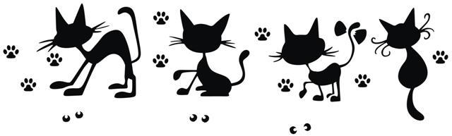 Frise de chats rigolos pochoir mon artisane style pochoir