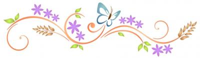 Frise fleurs papillon design