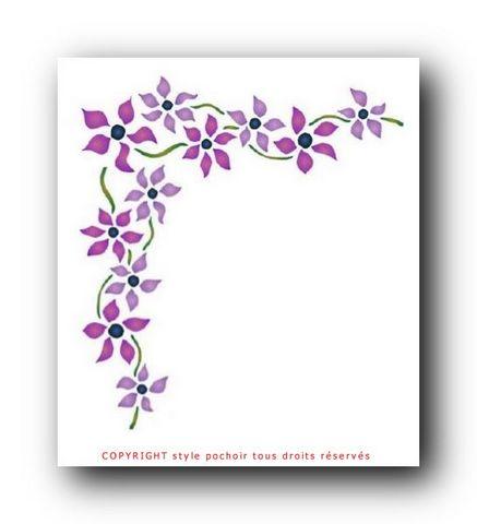In16 interrupteur angle fleurs violettes pochoir