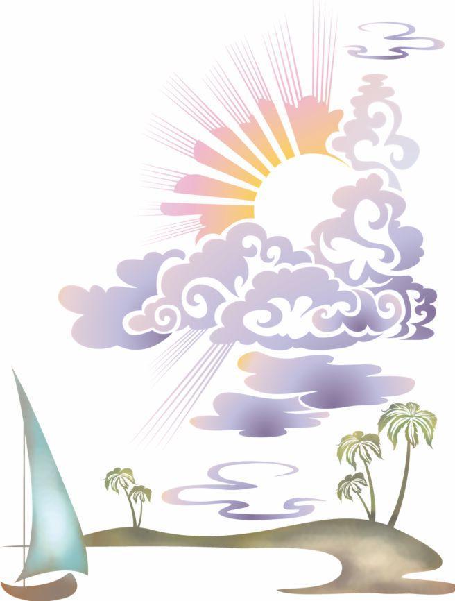 Mar209 pochoir paysage ile soleil plage paradisiaque mon artisane