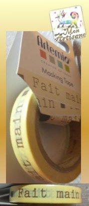 Masking tape papier de riz adhesif jaune fait main artemio mon artisane