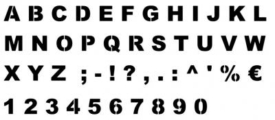 Pochoir alphabet Arial Black plastique 400microns