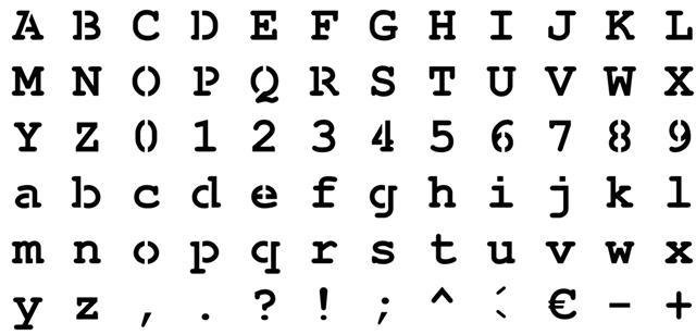 Pochoir alphabet courrier complet