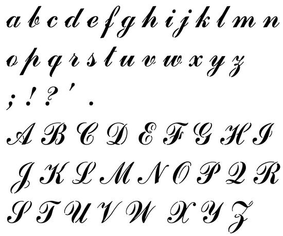 Pochoir alphabet manuscrit commscript