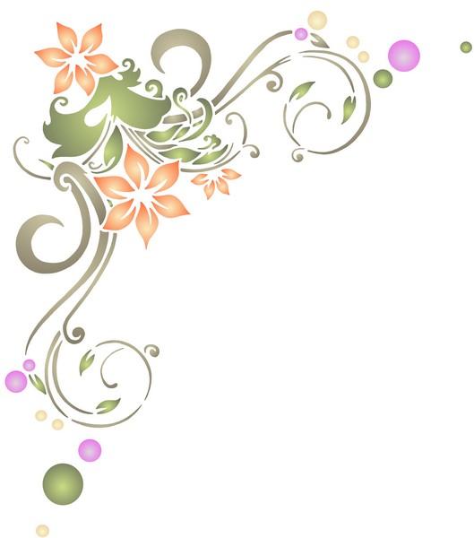 Pochoir angle de fleurs design volutes fl10002