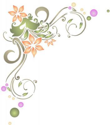 pochoir angle fleurs et volutes