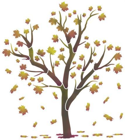 Pochoir arbre en automne