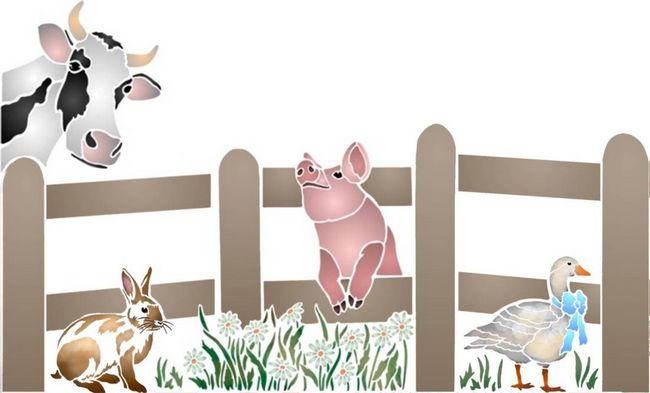 Pochoir barriere animaux ferme vache cochon lapin oie spmu098