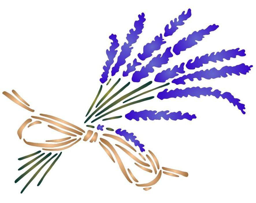 Pochoir bouquet lavande oblique raphia spf039