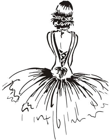 Pochoir danseuse classique tutu ballerine dessin 1