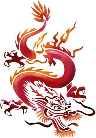 Pochoir dragon chinois en plastique r utilisable tr s - Comment dessiner un dragon chinois ...