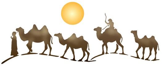 Pochoir frise chameau touaregs or1005