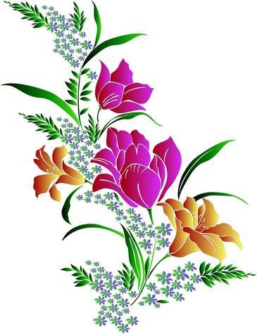 pochoirs de fleurs bouquets motifs floraux choix norme. Black Bedroom Furniture Sets. Home Design Ideas