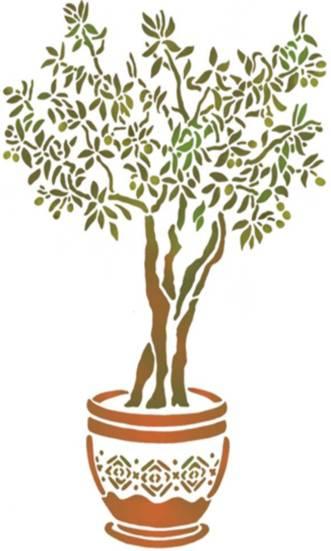 Pochoir olivier dans un pot