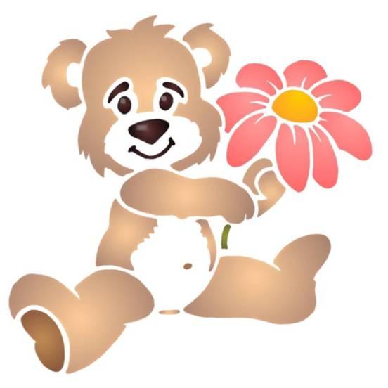 Pochoir ourson fleur enfant