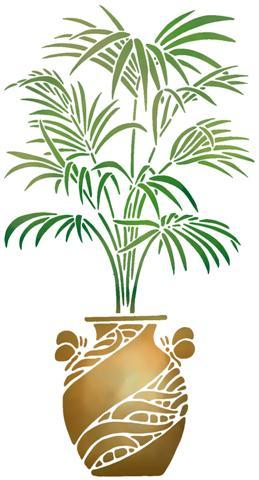 Pochoir palmier en pot plante en pot small