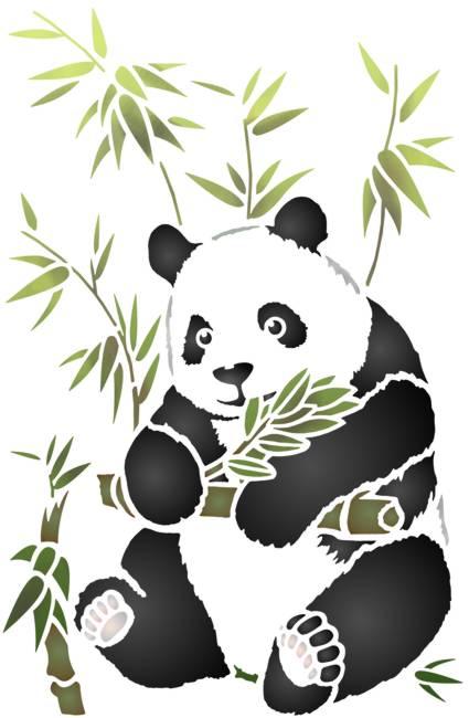 Pochoir panda bambou