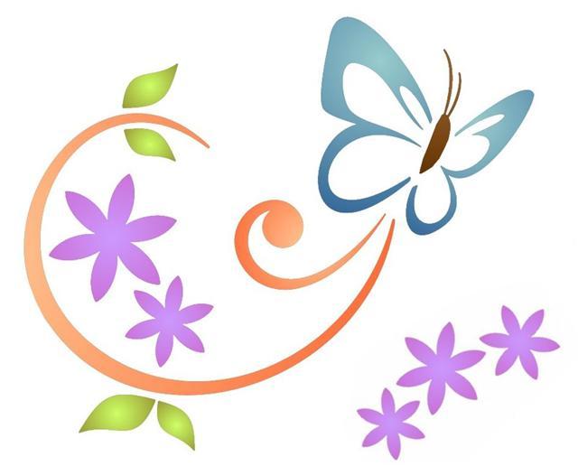 Pochoir papillon design volutes