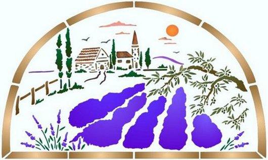 Pochoir paysage lavande vue sur le mas spmu014