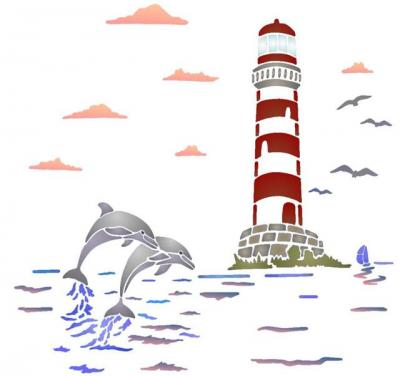paysage marin phare dauphins