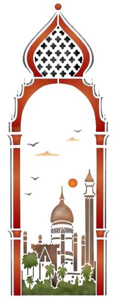 Pochoir porte orientale vue sur la mosquee