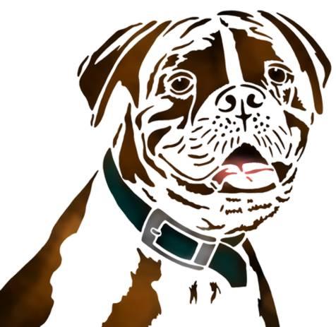 Pochoir tete de chien boulegogue boxer