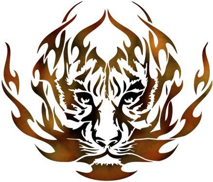 Pochoir tete de tigre avec flamme facon tuning stipo1848