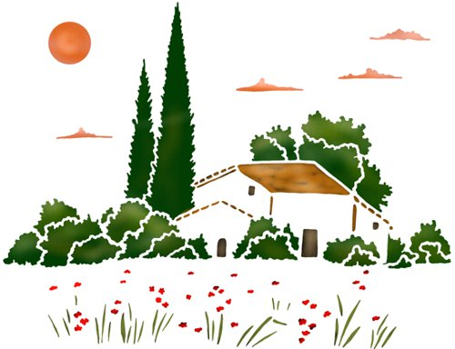 Prov858 paysage provencal pochoir