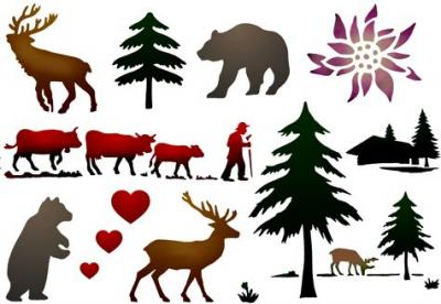 Scrap030 pochoirs de montagne sapin cerfs edelweiss chalet ours