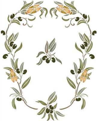 Spf142 olives cigales pochoir branche d olivier provence mon artisane specialiste en pochoir 1